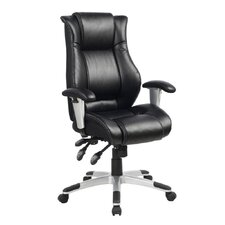 Ergonomic High-Back Leather Executive Chair with Side Waist Support and Excellent Lumbar Support
