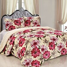 Double Flannel 3 Piece Blossom Flowers Blanket Set