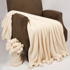 Flannel Fleece Pom Pom Throw Blanket
