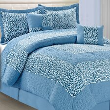 Safari Blue Giraffe 6 Piece Comforter Set
