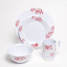 Decorated Coral 24 Piece Dinnerware Gift Set
