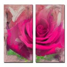'Painted Petals XL' 2 Piece Graphic Art on Wrapped Canvas Set