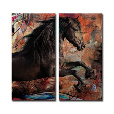 Saddle Ink Equestrian 2 Piece Print of Painting on Canvas Set