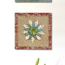 Rustic Square Flower Wall Décor