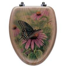 Black Swallowtail Butterfly Oak Elongated Toilet Seat