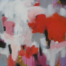 'Red-White Abstraction' by Susan Lhamo Original Painting on Wrapped Canvas