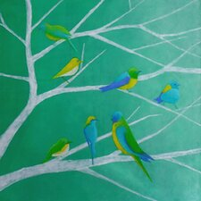 'Birds' by Regine La Fata Original Painting on Wrapped Canvas