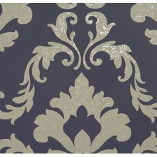 "Attractive Traditional Metallic Floral 32.97' x 20.8"" Damask Wallpaper"