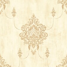 "Traditional Classic Damask Metallic Kingdom 32.97' x 20.8"" Wallpaper"