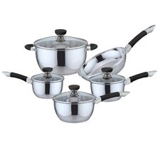 9 Piece Non-Stick Stainless Steel Cookware Set