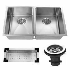 "32"" x 19"" Undermount Stainless Steel Double Bowl Kitchen Sink"