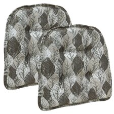 Overture Metallic Leaves Gripper Tufted Chair Cushion (Set of 2)