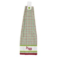 Whimsical Christmas 2 Piece Button Loop Kitchen Towel Set