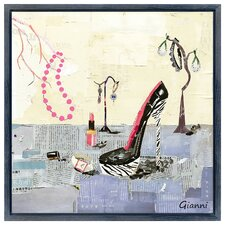 """""""High Heeled Shoes B"""" Original Handmade Paper Collage Signed by Gianni Framed Graphic Art"""
