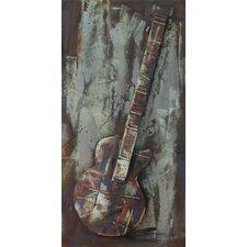 'Electric Guitar' Mixed Media Iron Wall Sculpture