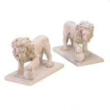 2 Piece Regal Lion Statue set