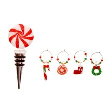 Glass Christmas Icons Stopper & Wine Charms Set