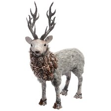 Pinecone Deer with Faux Fur Figurine (Set of 2)