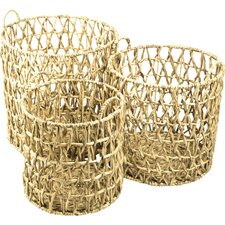 3 Piece Water Hyacinth Quilted Hamper Set