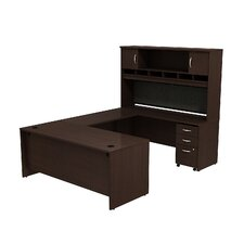 Series C U-Station with 2-Door Hutch and 3-Drawer Mobile Pedestal