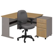 Series A Left Corner Desk with 3 Drawer File and Chair