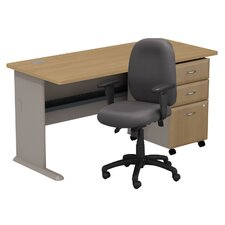 Series A Computer Desk with 3 Drawer File and Chair