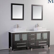 "Malta 61"" Double Bathroom Vanity Set with Mirrors"