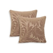 Alessandra Chenille Leaves Jacquard Toss Throw Pillow (Set of 2)