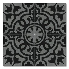 """Baha 8"""" x 8"""" Marble Hand-Painted Tile in Black and White"""