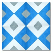"""Jadida 8"""" x 8"""" Marble Hand-Painted Tile in Blue and White"""