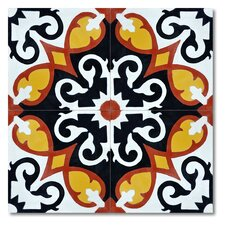 "Agadir 8"" x 8"" Marble Hand-Painted Tile in Multi-Color"