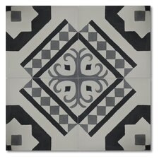 """Bouman 8"""" x 8"""" Marble Hand-Painted Tile in Black and Gray"""