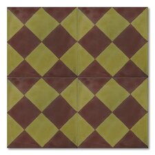 "Chichawa 8"" x 8"" Marble Hand-Painted Tile in Brown and Green"