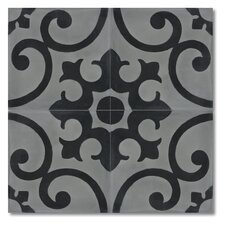 """Malaga 8"""" x 8"""" Marble Hand-Painted Tile in Black and Gray"""