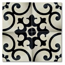 "Malaga 8"" x 8"" Marble Hand-Painted Tile in Black and Ivory"