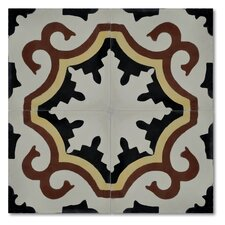 "Argana 8"" x 8"" Marble Hand-Painted Tile in Multi-Color"