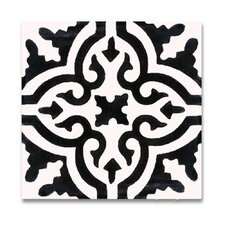 """Argana 8"""" x 8"""" Hand-Painted Tile in White and Black"""