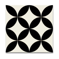 """Bellota 8"""" x 8"""" Hand-Painted Tile in White and Black"""