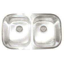 """Premium Series 30"""" x 17.75"""" Double Bowl Undermount Kitchen Sink"""
