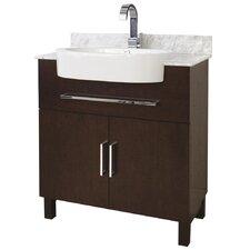 """33"""" Single Transitional Birchwood-Veneer Bathroom Vanity Set"""