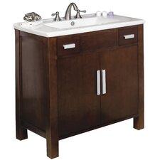 """36"""" Single Transitional Birchwood-Veneer Bathroom Vanity Set"""