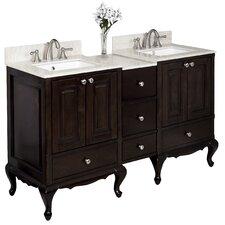"""60"""" Double Traditional Birchwood-Veneer Bathroom Vanity Set"""