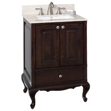 "24"" Single Traditional Birchwood-Veneer Bathroom Vanity Set"