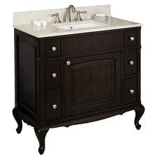 "36"" Single Traditional Birchwood-Veneer Bathroom Vanity Set"