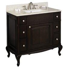 "40"" Single Traditional Birchwood-Veneer Bathroom Vanity Set"
