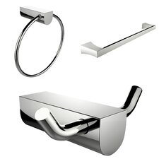 Wall Mounted Towel Ring with Single Rod Towel Rack and Robe Hook