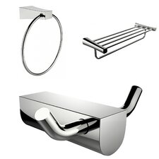 Wall Mounted Multi Rod Towel Rack with Towel Ring and Robe Hook