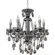 6 Light Smoke Grey Crystal Candelabra Chandelier
