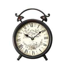 """Vintage-Inspired Roman Numerals """"Cheval Noir"""" Alarm Wall Hanging or Table Clock"""