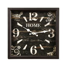 "Vintage-Inspired Distressed Square ""Home"" Scroll and Flower Detail Wall Hanging Clock"